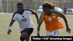"""""""Les Black Queens"""" du Ghana ont remporté la première édition du tournoi des nations dames de l'Union des Fédérations ouest-africaines de football (UFOA) zone B, en battant leurs homologues ivoiriennes 1 à 0, en finale, à Abidjan, 24 février 2018. (Twitter"""