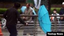 저기압의 영향으로 한국 전역에 강한 비바람이 몰아친 3일 서울 청계광장 인근에서 한 시민의 우산이 뒤집혔다.
