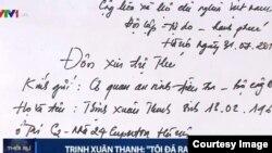 Bức thư thú tội của Trịnh Xuân Thanh được VTV1 đăng tải trong chương trình thời sự 19h ngày 3/8.