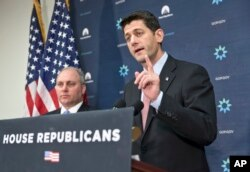 FILE - House Speaker Paul Ryan (R) speaks to reporters on Capitol Hill in Washington.