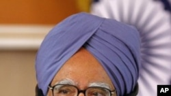 印度总理辛格在一次记者会上(资料照)