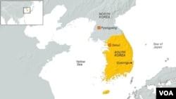 FILE - A map of South Korea