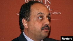 FILE - Qatari Foreign Minister Khaled al-Attiya gives a speech at the Princeton University's Woodrow Wilson School of Public and International Affairs in Princeton, New Jersey Sept. 29, 2014.