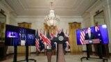 Джо Байден представляет новую инициативу в области национальной безопасности во время виртуальной встречи с премьер-министром Австралии Скоттом Моррисоном и премьер-министром Британии Борисом Джонсоном. 15 сентября 2021г. Белый дом.