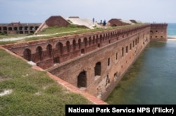 The moat and wall at Fort Jefferson. NPS photo taken by John Dengler