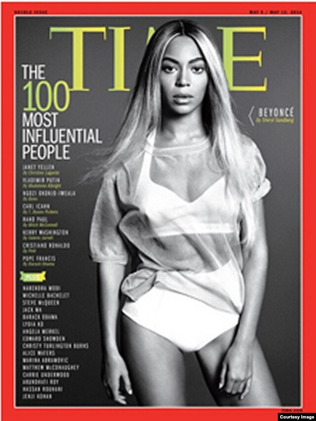 Beyonce on the cover of Time magazine's '100 Most Influential People' issue.