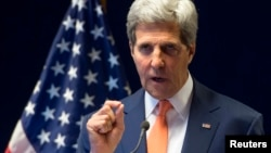 U.S. Secretary of State John Kerry holds a news conference in Addis Ababa, May 1, 2014.