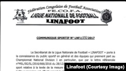 Communiqué de la Ligue nationale de football (Linafoot), 3 janvier 2017