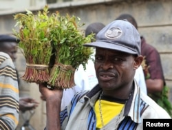 FILE - A vendor walks away with bundles of qat leaves from an open air wholesale market in Kenya's capital Nairobi, July 10, 2013.