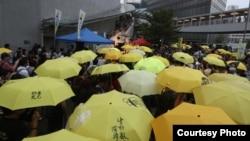 香港民眾政府總部外集會撐起象徵雨傘革命的黃傘,紀念爭取真普選的雨傘運動4週年。(2018年9月28日蘋果日報圖片)