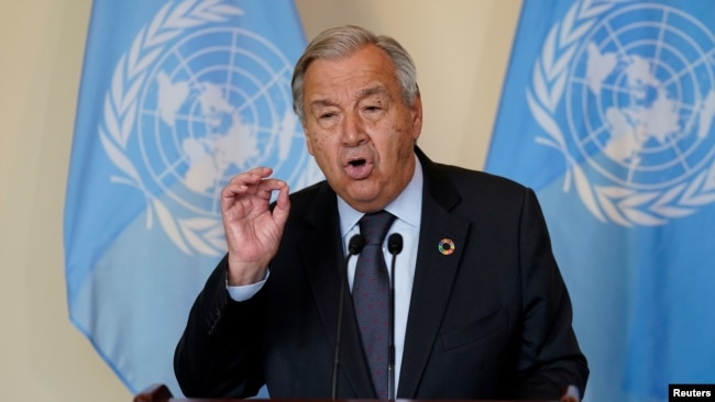 Antonio Guterres, Secretary General of the United Nations, speaks to reporters during the 76th Session of the U.N. General Assembly in New York, September 20, 2021.