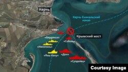 Situacija predstavljena na mapi u Kerčkom zalivu, Foto: Glas Amerike