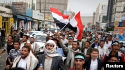 Pro-democracy protesters demonstrate to call for the prosecution of former Yemeni President Ali Abdullah Saleh, in Sanaa, March 7, 2013.