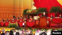 Tổng bí thư Nguyễn Phú Trọng tại lễ khai mạc Đại hội Đảng 13 ở Hà Nội hôm 26/1. Báo cáo mới được Bộ Ngoại giao Mỹ đưa ra cho biết chính phủ Việt Nam không có tiến bộ đáng kể trong việc minh bạch các nguồn thu ngân sách.