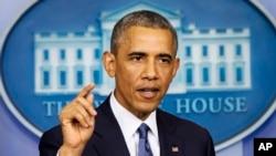 美國總統奧巴馬星期五在白宮發表講話。