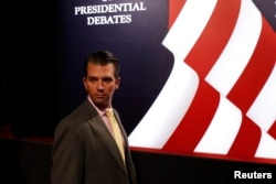 FILE - Donald Trump Jr., son of then-presidential candidate Donald Trump, arrives for the third and final debate between the Republican U.S. presidential nominee and Democratic nominee Hillary Clinton in Las Vegas, Nevada, Oct. 19, 2016.