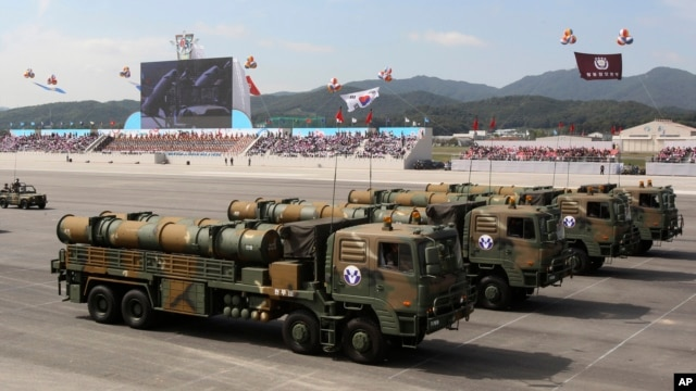 South Korean Hyunmu-3 cruise missiles are displayed during a ceremony marking the 65th anniversary of Armed Forces Day, Oct. 1, 2013.