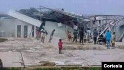 Escola Municipal do Quimbele, II Ciclo, destruída pela chuva