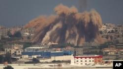 以色列空襲加沙地帶後煙塵密佈