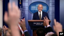 White House Chief of Staff John Kelly at the daily press briefing at the White House in Washington, Oct. 12, 2017.