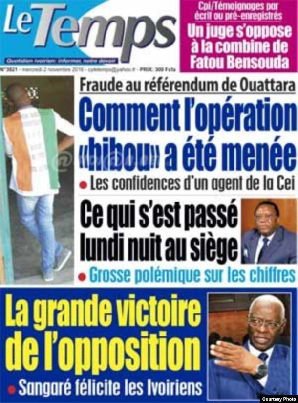 La Une du journal ivoirien Le Temps, en Côte d'Ivoire, le 2 novembre 2016.