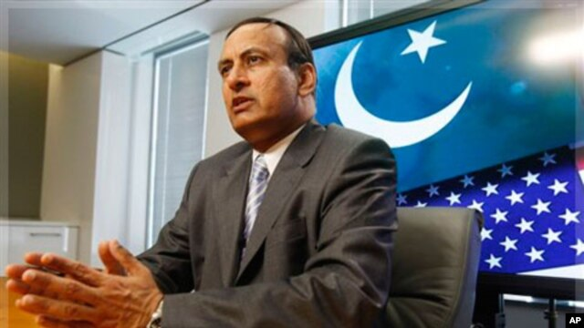 Husain Haqqani, Pakistani Ambassador to the United States, speaks during an interview with The Associated Press in Washington, June 20, 2008.