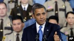 奧巴馬總統星期一在明尼蘇達州談論槍械管控
