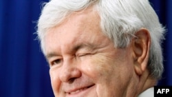 Newt Gingrich winks at a questioner during a campaign stop in Newport, N.H., Jan. 6. (AP)