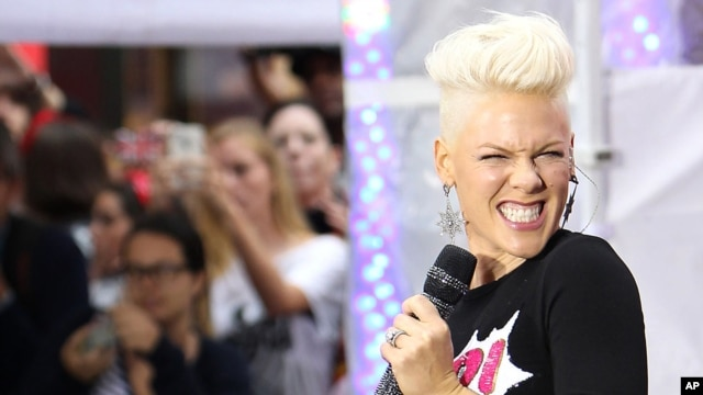 This image released by Starpix shows singer Pink performing during an appearance on the