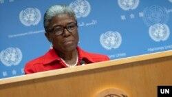 린다 토마스 그린필드 유엔주재 미국대사가 17일 뉴욕 유엔본부에서 기자회견을 했다.