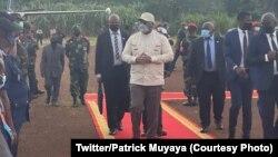 Président Félix Tshisekedi na bokomi bwa ye na Beni, na Nord-Kivu, 15 juin 2021. (Twitter/Patrick Muyaya)