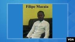 Filipe Macaia, activista do MIC preso em Dezembro de 2019.