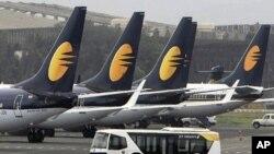 Jet Airways aircrafts sit on the tarmac at the Santacruz domestic airport terminal in Mumbai, India (2009 File)