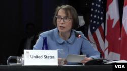 جودیت گاربر، مسئول اداره امور زیست محیطی و علمی وزارت امور خارجه آمریکا، در نشست لهستان حاضر بود.