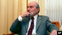 George Blake, seen in this Nov. 15, 2006, is a former British spy and double agent in service of the Soviet Union, seen in Moscow, Russia. Blake, who turns 95 Saturday Nov. 11, 2017 said in a statement carried by the Russian Foreign Intelligence Service that Russian spies now face a task of saving the world. Blake has lived in Russia since his escape from British prison in 1966.