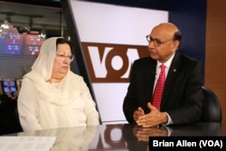 Khizr and Ghazala Khan, the parents of an Army captain killed in Iraq, speak with VOA in Washington, August 1, 2016. (B. Allen/VOA)