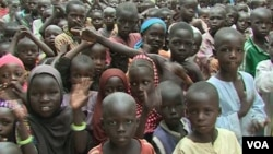 Hundreds turn out for the reopening of a government school in Limani, Cameroon. (M.E. Kinzeka/VOA)