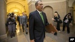 House Speaker John Boehner Ohio walks to his office on Capitol Hill in Washington, Jan. 1, 2013.