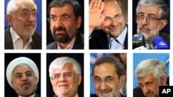 Presidential candidates (clockwise from left) Mohammad Gharazi, Mohsen Rezaei, Mohammad Bagher Qalibaf, Gholam Ali Haddad Adel, Hasan Rowhani, Mohammad Reza Aref, Ali Akbar