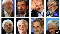 Foto 8 calon presiden Iran dalam Pemilu Iran 14 Juni (searah jarum jam dari kiri) Mohammad Gharazi, Mohsen Rezaei, Mohammad Bagher Qalibaf, Gholam Ali Haddad Adel, Hasan Rowhani, Mohammad Reza Aref, Ali Akbar