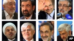 A combination of eight pictures shows the eight candidates approved for Iran's June 14 presidential election. (Clockwise from L) Mohammad Gharazi, Mohsen Rezaei, Mohammad Bagher Qalibaf, Gholam Ali Haddad Adel, Hasan Rowhani, Mohammad Reza Aref, Ali Akbar