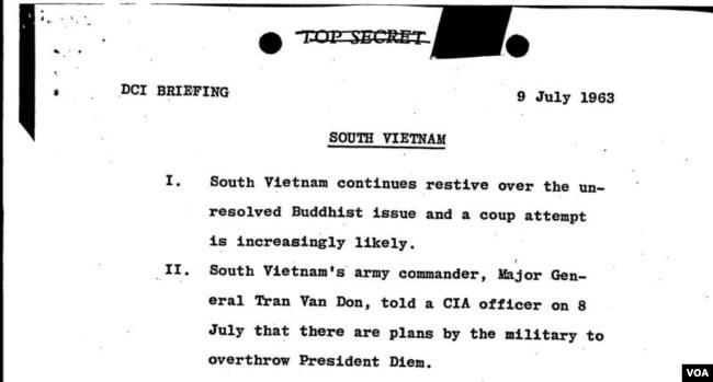 """Trích xuất công điện """"tối mật"""" ngày 9 tháng Bảy, 1963: """"Nam Việt Nam vẫn tiếp tục cứng đầu đối với vấn đề Phật Giao chưa thể giải quyết và một âm mưu đảo chánh ngày càng gia tăng chắc chắn."""""""
