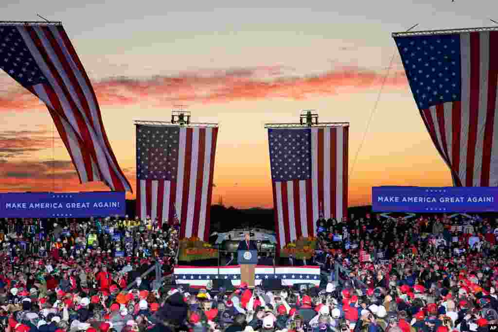 President Donald Trump addresses the crowd during a campaign stop, Oct. 31, 2020, at the Butler County Regional Airport in Butler, Pennsylvania.
