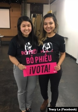 Tracy La (phải) đang vận động để giúp đỡ những người Việt bị ảnh hưởng vì giá thuê nhà tăng cao.