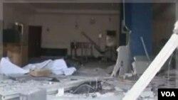 Bangunan yang rusak di Damatura, Nigeria menyusul serangan beruntun di wilayah itu (6/11).