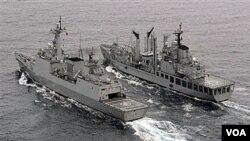 Kapal AL Korea Selatan ikut berpartisipasi dalam latihan perang dengan Amerika. (foto: dok)