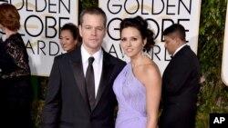 Diễn viên Matt Damon và vợ Luciana Barroso.