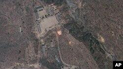 북한의 지하 핵실험장이 있는 것으로 알려진 함경북도 길주군 풍계리의 지난 2012년 4월 위성사진. (자료사진)