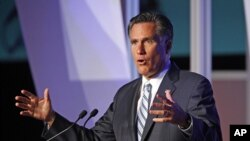 Republican presidential candidate Mitt Romney addresses the U.S. Hispanic Chamber of Commerce in Los Angeles, Sept. 17, 2012.