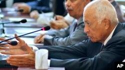 FILE - Secretary-General of the League of Arab States, Nabil el-Araby.